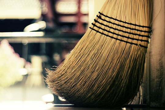 sweeping-floor at-night